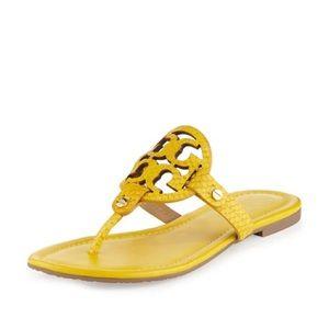 Tory Burch Miller Snake Sour Lemon Sandals 10.5